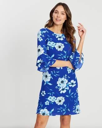 Wallis Vivid Floral Double Flute Sleeve Dress