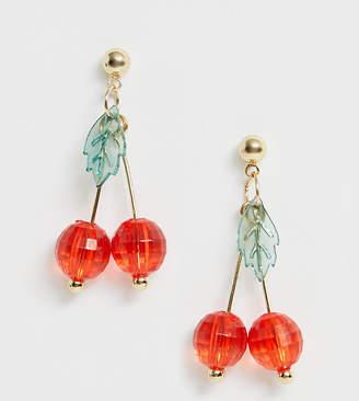 Glamorous cherry beaded drop earrings