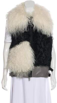 Sacai Leather & Mongolian Fur Vest