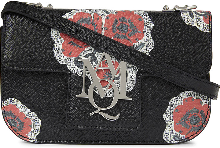 Alexander McQueenAlexander Mcqueen Poppy AMQ insignia leather satchel