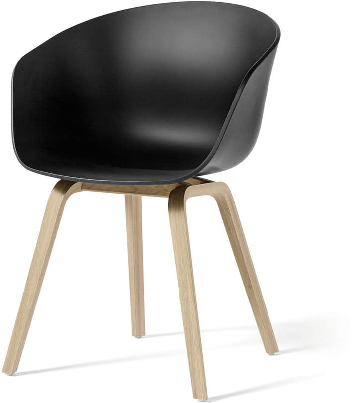 Hay - About A Chair AAC 22, Holz-Vierbeingestell (Eiche matt lackiert) / Schwarz