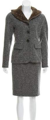 Charles Chang-Lima Textured Knee-Length Skirt Suit