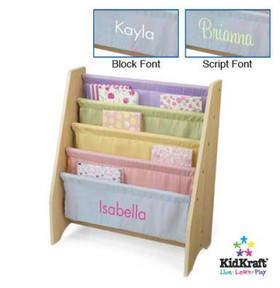 Kid Kraft Personalized Pastel Sling Book Display