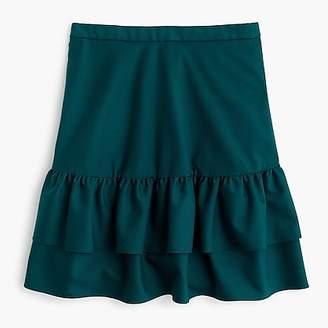 J.Crew Petitewool flannel ruffle skirt