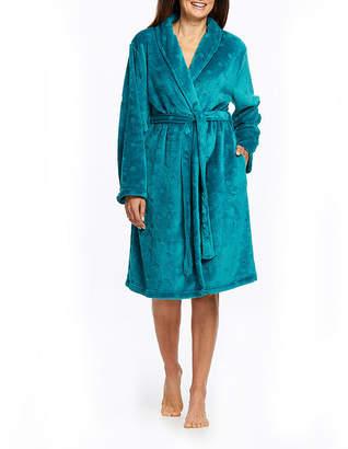 Gloria Vanderbilt Womens Fleece Robe Long Sleeve Mid Length