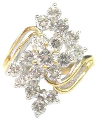 14K Yellow Gold 1.96ct Diamond Flower Cocktail Ring