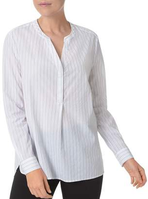 NYDJ Lightweight Pinstriped Henley Top
