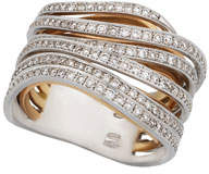 18k Two-Tone Gold & Diamond Tall Overlap Ring Size 7.25