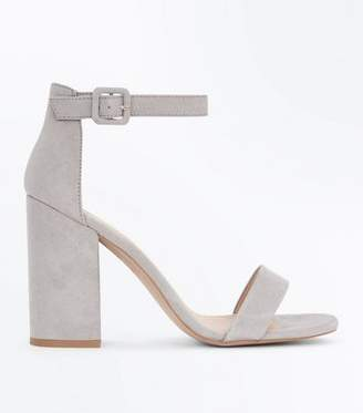 New Look Grey Suedette Barely There Block Heels