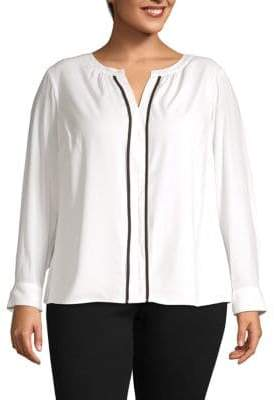 Calvin Klein Plus Long-Sleeve Split-Neck Top