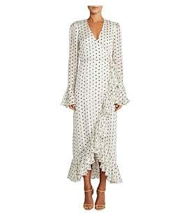 Shona Joy Karina Frill Cuff Wrap Midi Dress