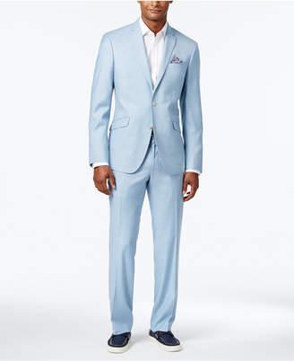 Kenneth Cole Reaction Men's Slim-Fit Icy Blue Micro-Grid Suit $375 thestylecure.com