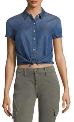 Frame Shrunken Short Sleeve Blouse