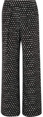 Leone we are Noah Printed Silk-blend Satin Wide-leg Pants - Black
