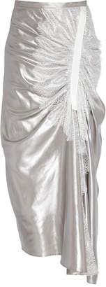 CHRISTOPHER ESBER Foil-Coated Silk Incline Lace Gather Slit Skirt