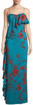 Sachin + Babi Putri Slip Dress w/ Asymmetric Ruffle