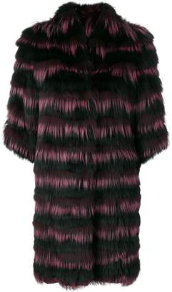 Guy Laroche striped fur coat