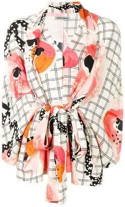 Henrik Vibskov check floral wrap blouse