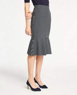 Ann Taylor Pinstripe Flounce Knit Pencil Skirt