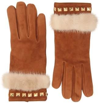 Portolano Mario Suede Gloves With Mink Fur & Studs