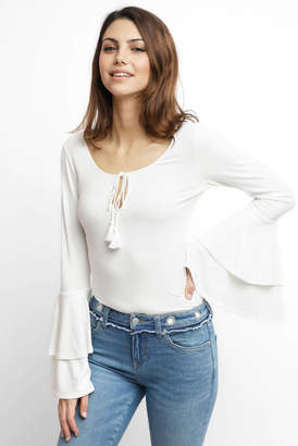 Band of Gypsies Ribbed Bell Sleeve Blouse