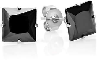 FINE JEWELRY Steeltime Black Cubic Zirconia Stainless Steel 8mm Stud Earrings