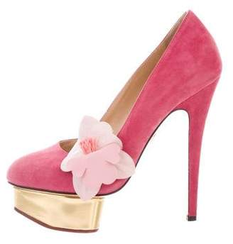 Charlotte Olympia Floral-Accented Suede Pumps