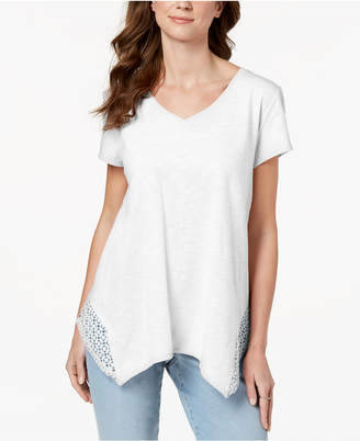 Style&Co. Style & Co Crochet Handkerchief-Hem T-Shirt