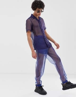 Asos Design DESIGN festival two-piece slim sweatpants in sheer fabric