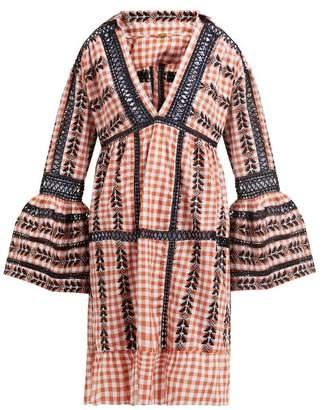 Dodo Bar Or Angel Geometric Embroidered Gingham Cotton Dress - Womens - Tan Multi