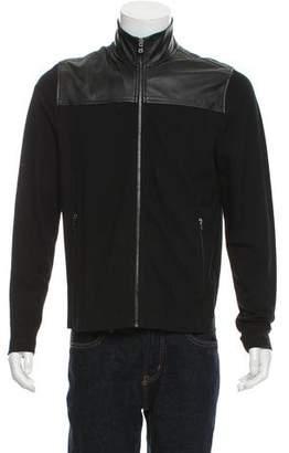 Michael Kors Leather-Trimmed Zip-Up Jacket