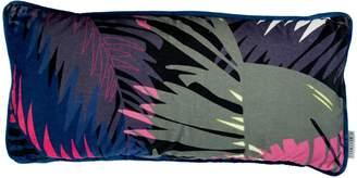 P.Westwell - Lumbar Velvet Cushion Featuring the Tunkun Palm Tropical Print Rectangle