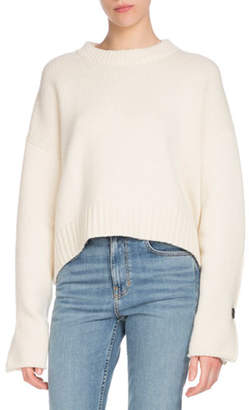 Proenza Schouler Crewneck Folded Button-Cuffs Wool-Cashmere Sweater