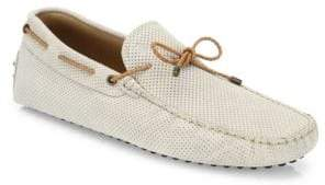 Tod's Gommini Scooby Tie Perforated Suede Driver Shoes
