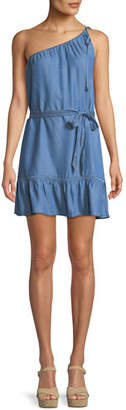 Paige Lauretta One-Shoulder Belted Chambray Mini Dress