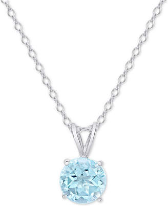 "Macy's Blue Topaz Solitaire 18"" Pendant Necklace (3/4 ct. t.w.) in Sterling Silver"