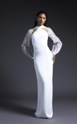 Cushnie Bridal Sophie Silk Gown With Open Back And Organza Sleeves