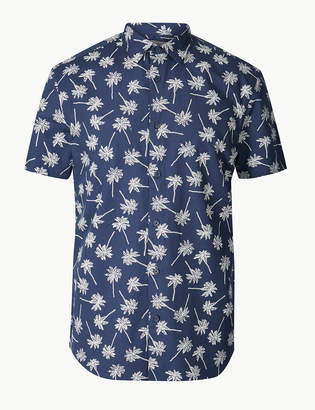 M&S CollectionMarks and Spencer Pure Cotton Palm Print Shirt
