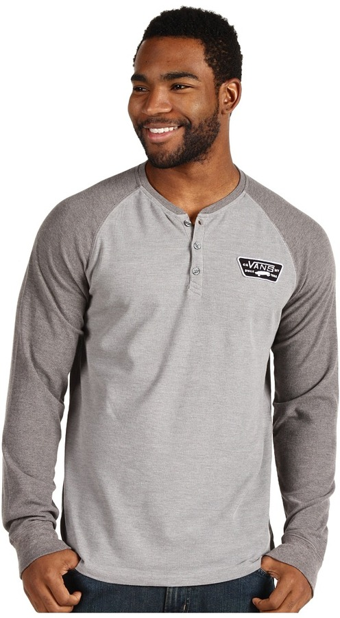 Vans Olin Thermal Henley (Concrete Heather/Gravel Heather) - Apparel