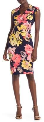London Times Painted Rose V-Neck Midi Dress