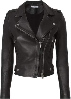 IRO Dylan Leather Cropped Moto Jacket $1,295 thestylecure.com
