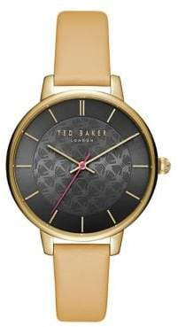 Ted Baker Kate Bow Print Leather Strap Watch
