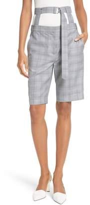 Tibi Removable Corset Plaid Shorts