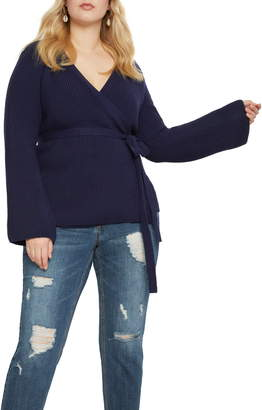 ELOQUII Cotton Blend Wrap Sweater