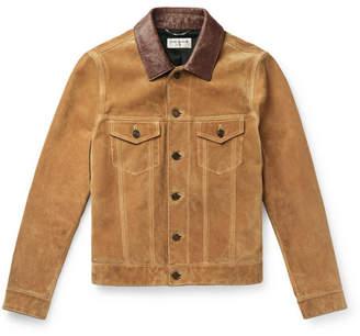 Saint Laurent Leather-trimmed Suede Trucker Jacket - Camel