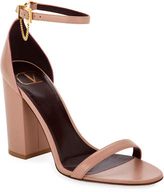Valentino Leather Sandals with Tiny Chain