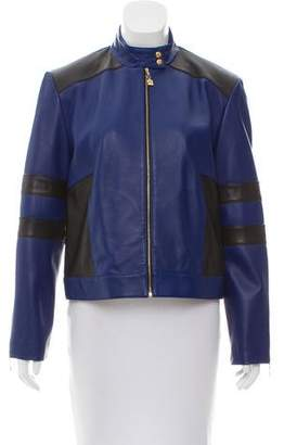 St. John Sport Leather Colorblock Jacket