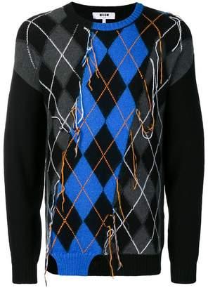 MSGM distressed argyle jumper