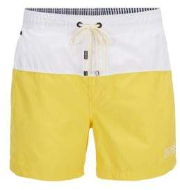 BOSS Hugo Striped Quick Dry Swim Trunk Flounder L Open Yellow