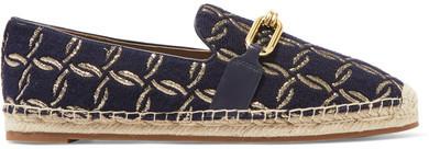 Michael Kors Collection - Lennox Leather-trimmed Jacquard Espadrilles - Navy